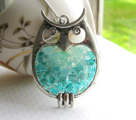Stained Glass Owl Pendant Owl Necklace by AimeezArtz on Etsy, $27.00