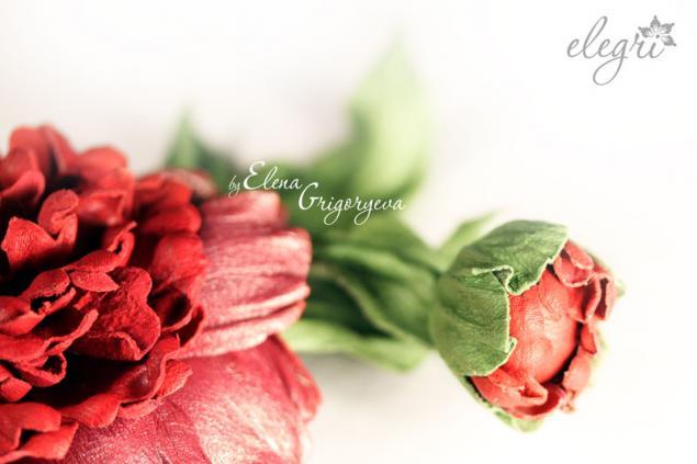 авторские цветы, пион с бутоном