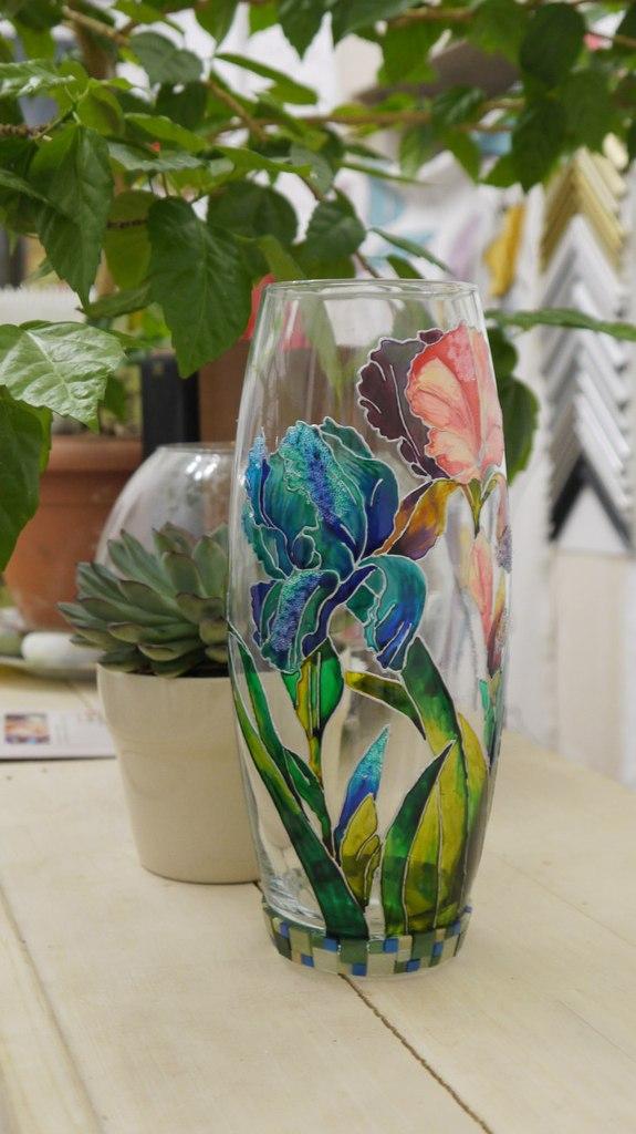 витражная роспись, ваза, бокал