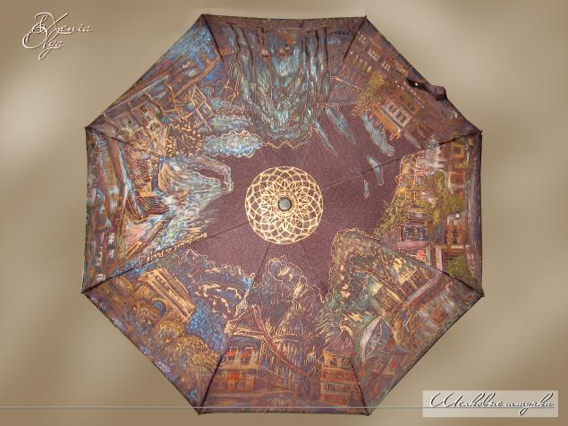зонт в подарок, роспись на зонте