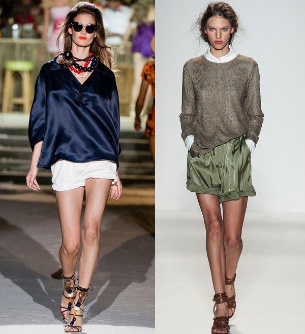 Модные  шорты с отворотами весна-лето 2014 от Dsquared и Rachel Zoe