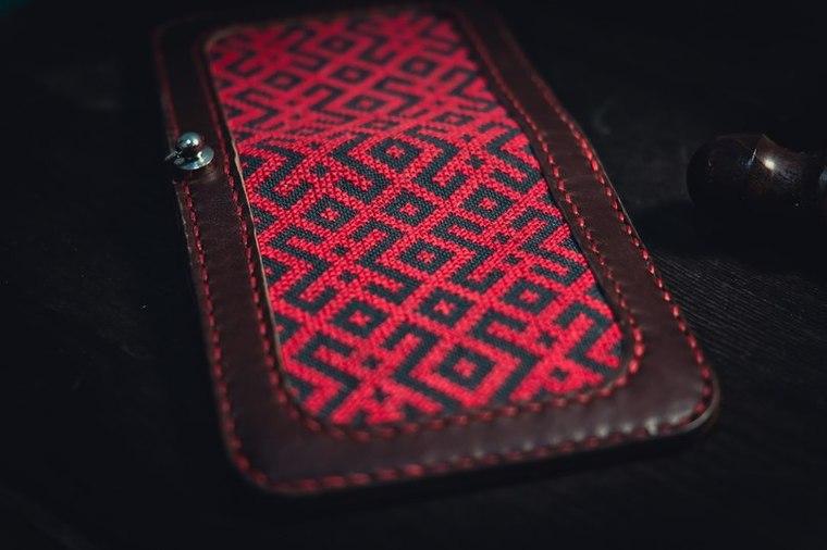 вышивка, русский орнамент, ручная вышивка, кожаный кошелек