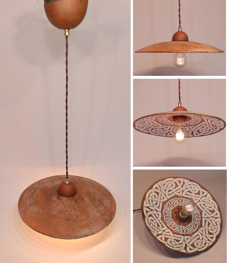 повесить светильник, потолочный светильник, светильник из глины, светильник над столом