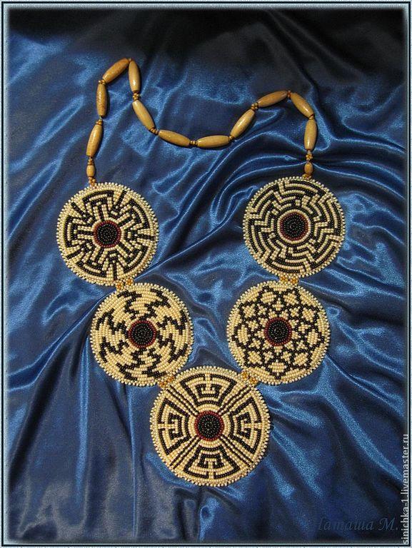 ожерелье, колье из бисера, кулон из бисера, капучино, этника