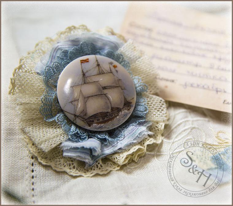 броши из ткани, украшения ручной работы