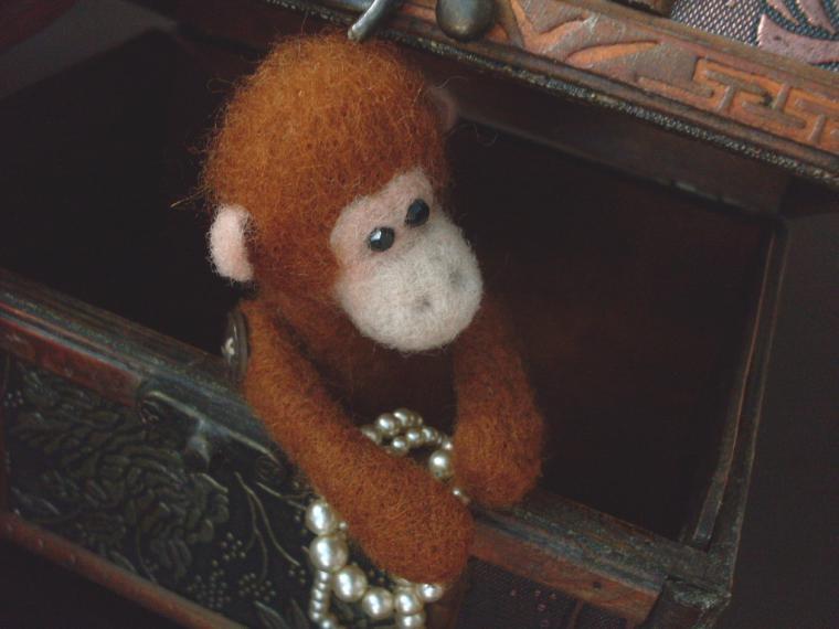 обезьянка, игрушка своими руками, сухое валяние хенд мейд