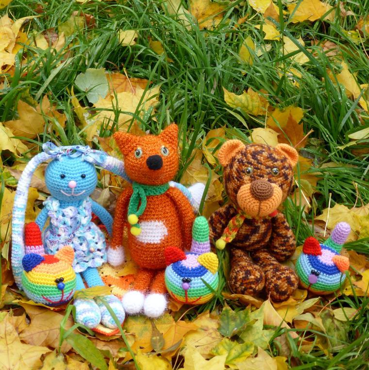 осень, яркие краски, заяц, лис, медведь, кот, антистресс, радужный кот, радуга, зайчик, лиса, лисенок, медвежонок, котенок, коты, зайчонок, зайка, мишка, мишки
