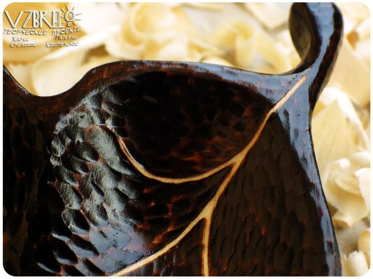 взбрело, тарелочка для украшений, лист, пирография