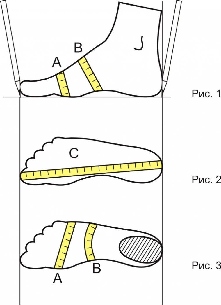 размеры, измерение стопы