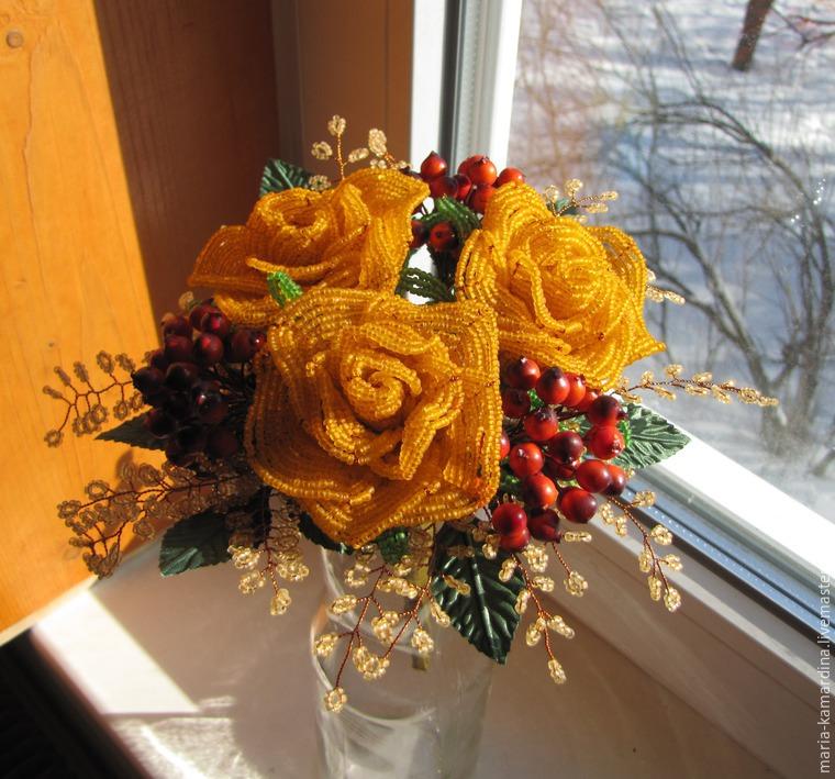 Мастер-класс: букет из бисера Рыжая весна - Ярмарка Мастеров - ручная работа, handmade