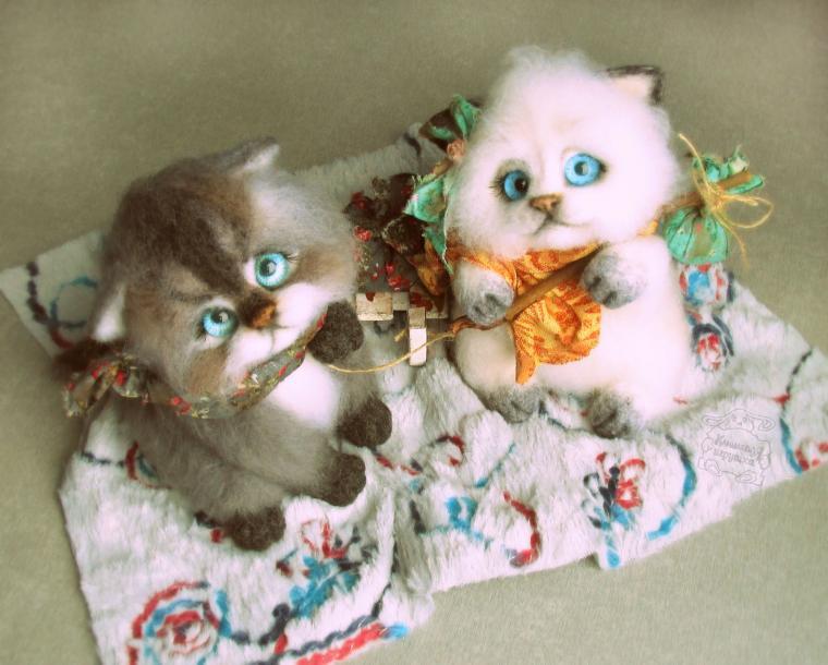 котята валяные, сухое валяние, клюшевая игрушка, войлочная игрушка