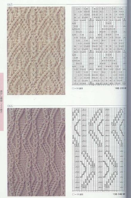 Схемы вязания ажуров с косами 769