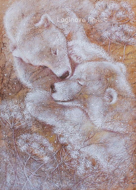 мишки, зима, белый медведь