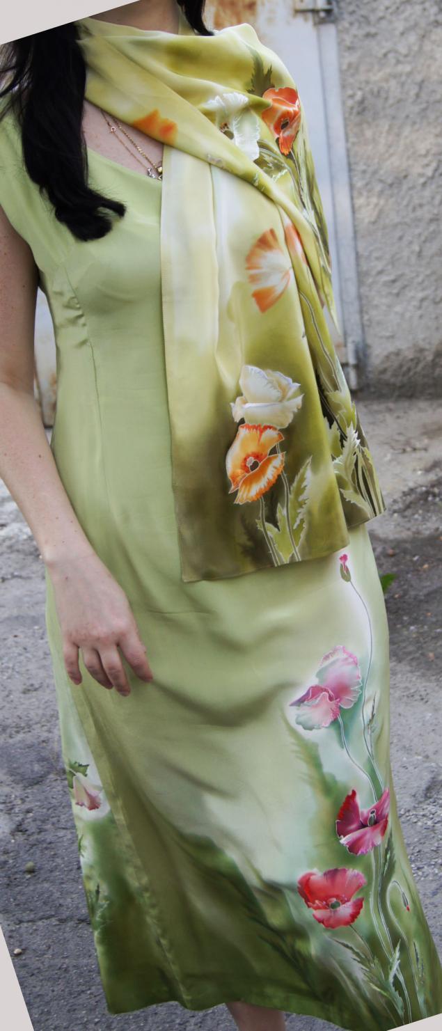костюм с росписью, платье вечернее, платье с вышивкой