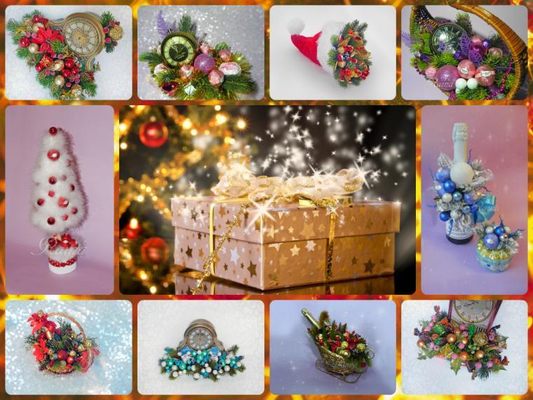 новый год 2015, новогодние подарки, композиции из конфет, подарок на новый год, букеты из конфет, новый год, сладкий подарок, букет из конфет