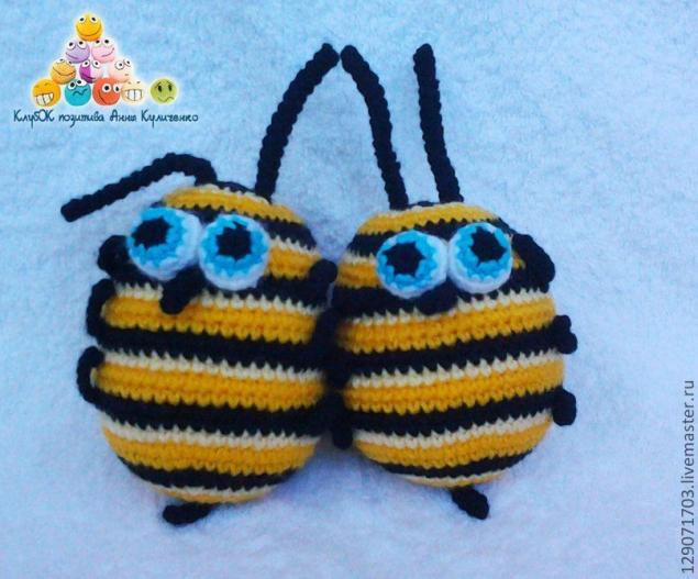 схема вязания пчелки