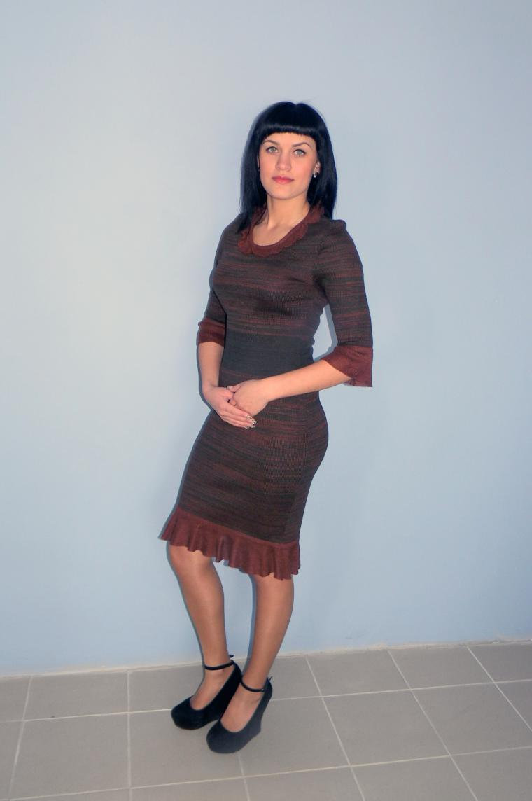 ауцион, аукцион сегодня, аукцион на платье, на платье аукцион, вязаное платье, стильное платье, платье с рюшами, меланжевое платье, платье зелено-коричневое