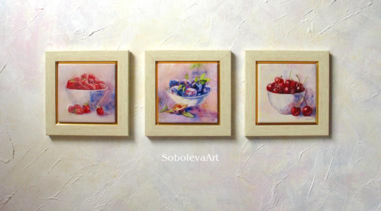 малина, слива, сливы, черешня, живопись акварелью, фрукты, натюрморт, триптих, картины соболевай карины, sobolevaart