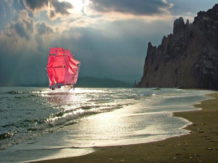 Уходя-уходи, умирая-умри,дважды в реку нельзя ведь войти,и в свободу ты бросился вниз головой,значит смело вперёд ты плывии пусть ветер попутный уносит тебя,парус лодки