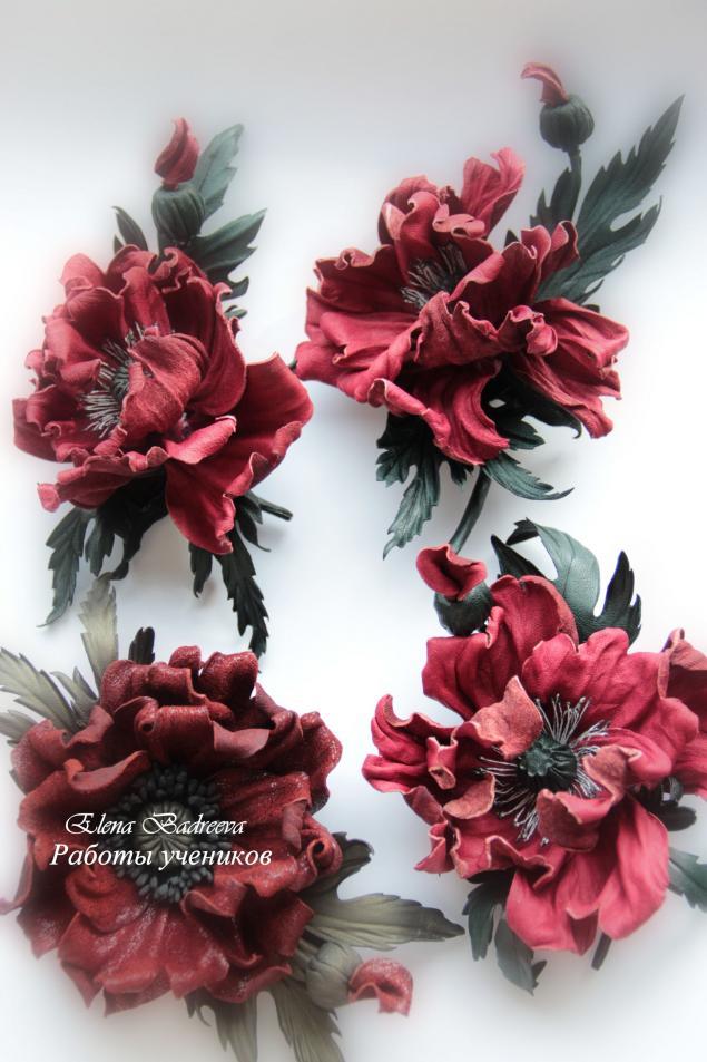 кожаная флористика, брошь-цветок, брошь из кожи, обучение цветоделию, мастер-класс по цветам