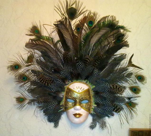 Изготовление венецианской маски с перьями.Техника папье-маше., фото № 15