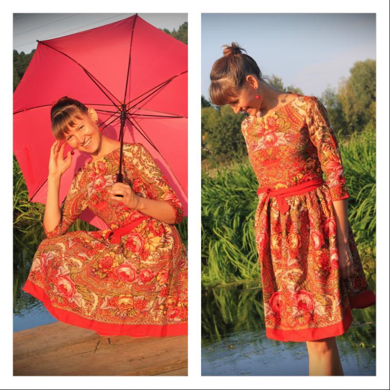 платье, платье в подарое, яркое платье, платье с принтом, платье на заказ, павловопосадский платок, лана зариньш, узор, русский стиль, русский сувенир, принт, рыжий, платок