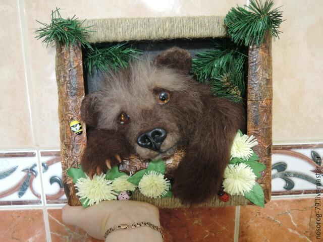 «Пробирается медведь сквозь лесной валежник...». Создаем из шерсти панно «Пробуждение», фото № 28