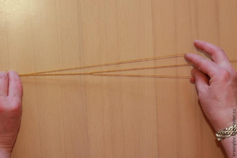 вязание в три сложения