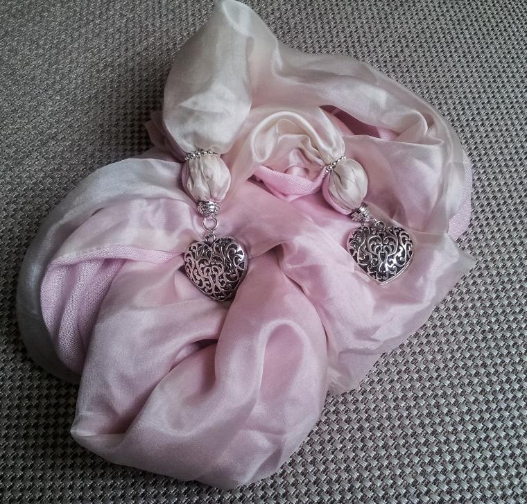 шарф украшение, светло-розовый
