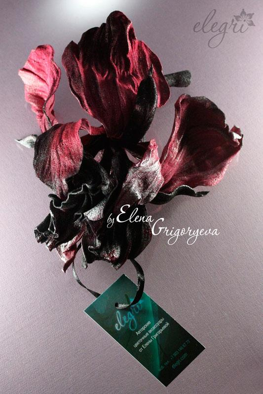 эксклюзивные цветы, ирис из замши, дизайнерские вещи