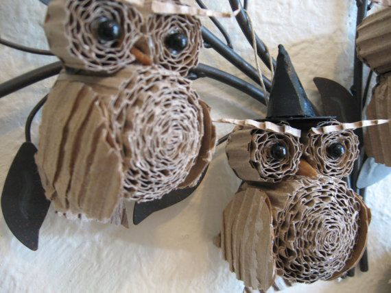 Halloween Owls made out of cardboard- adorable!