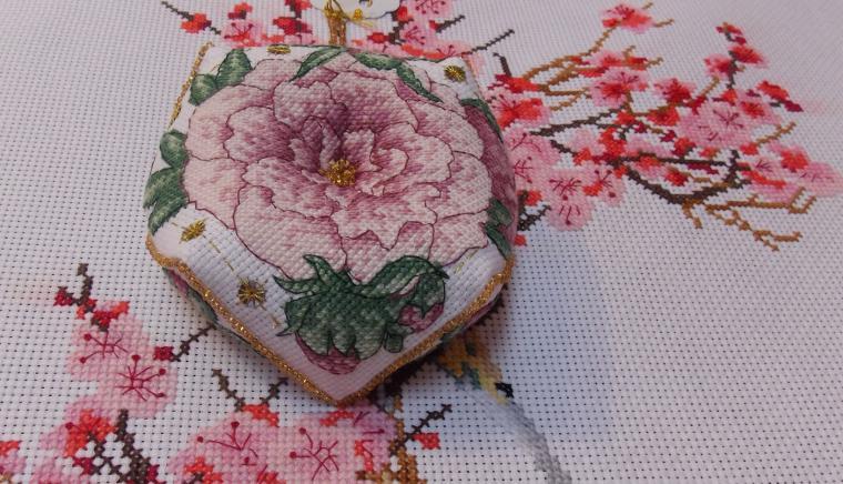 роза, вышивка крестиком, цветочная композиция
