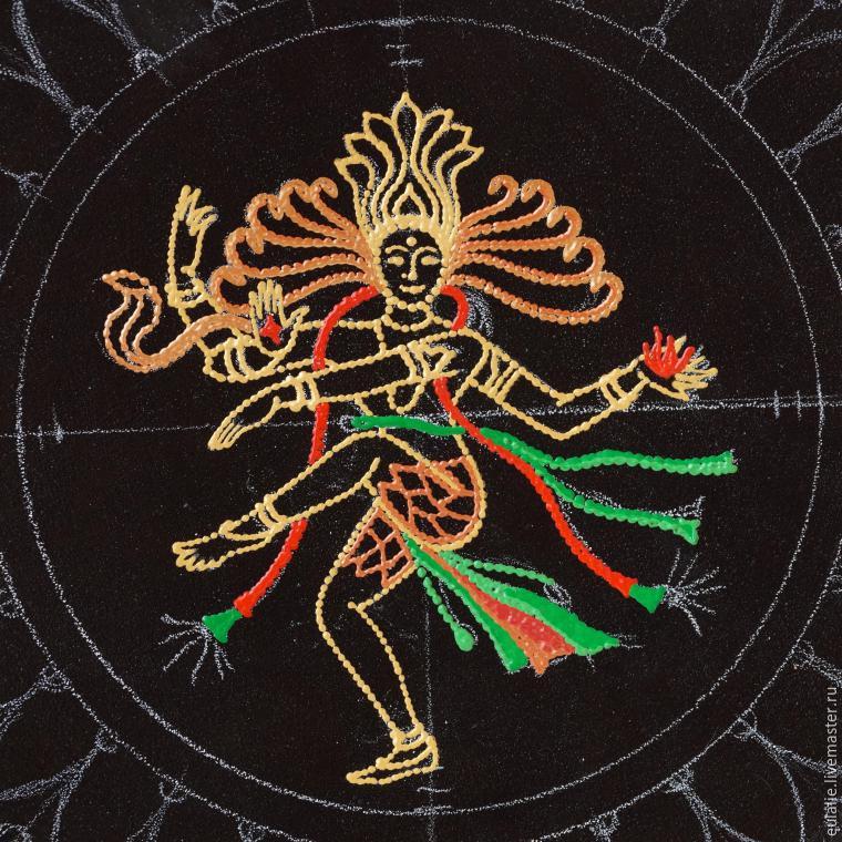 Мастер-класс по точечной росписи: тарелка-панно «танцующий Шива», фото № 7