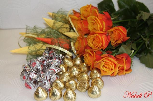 букет из конфет, сладкий подарок, шоколад