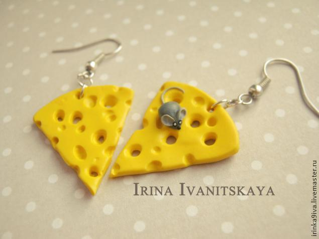 DIY Cheese Earrings of Polymer Clay, фото № 13