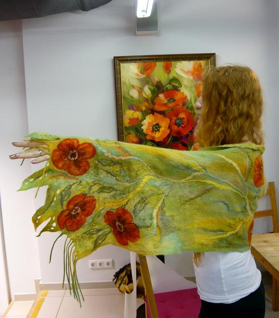мастер-класс по валянию, обучение валянию, шерстяная акварель, шарф валяный, цветы из шерсти