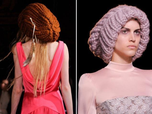 шапка, крупная вязка, тренд 2014