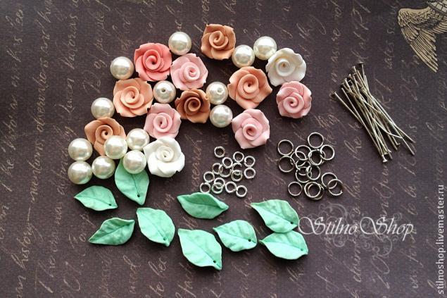 цветы из полимерной глины, листья