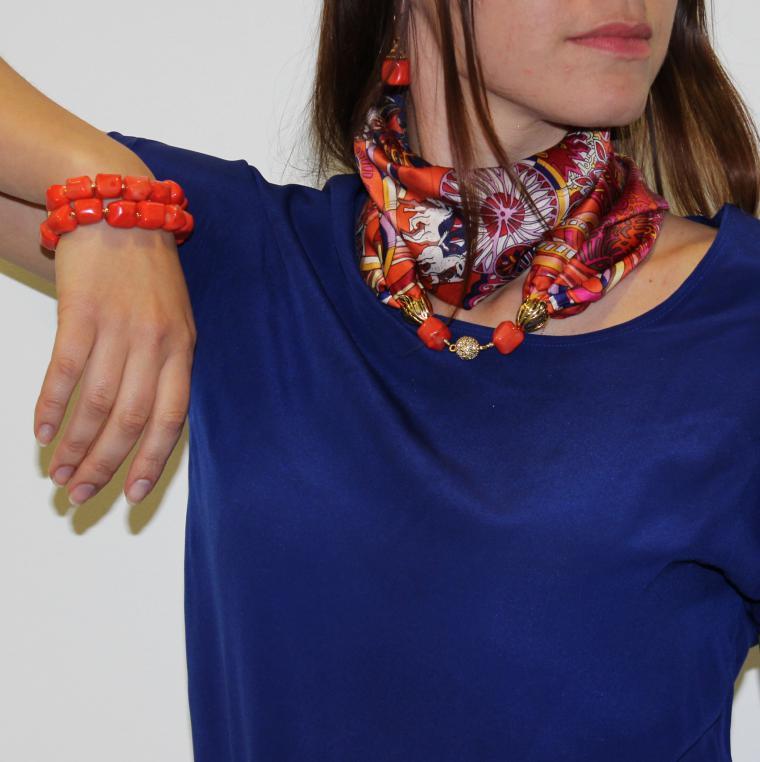 Бусы-шарф с чем носить