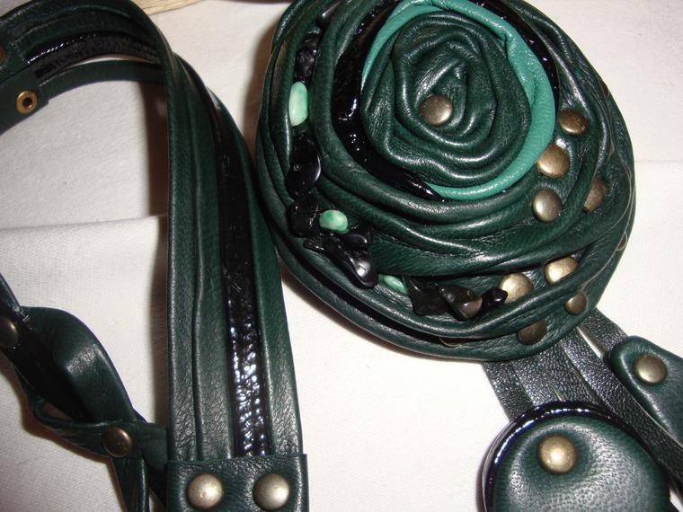 колье из кожи, объемное украшение