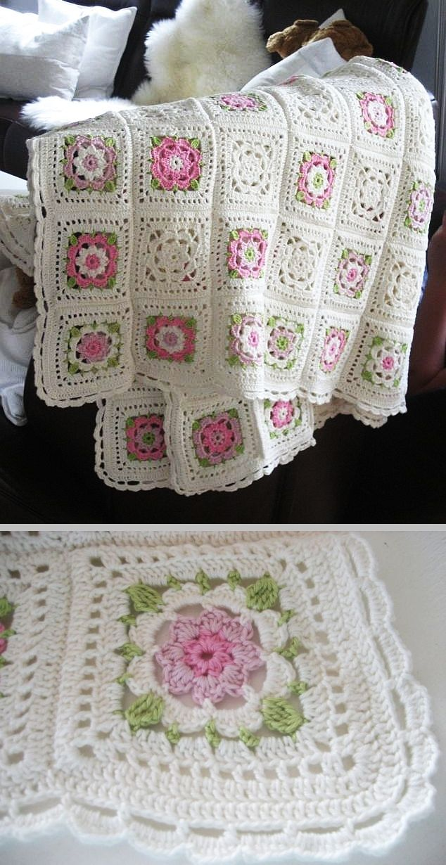 Inspiration :: Delicate & pretty afghan, motif pattern from German book.