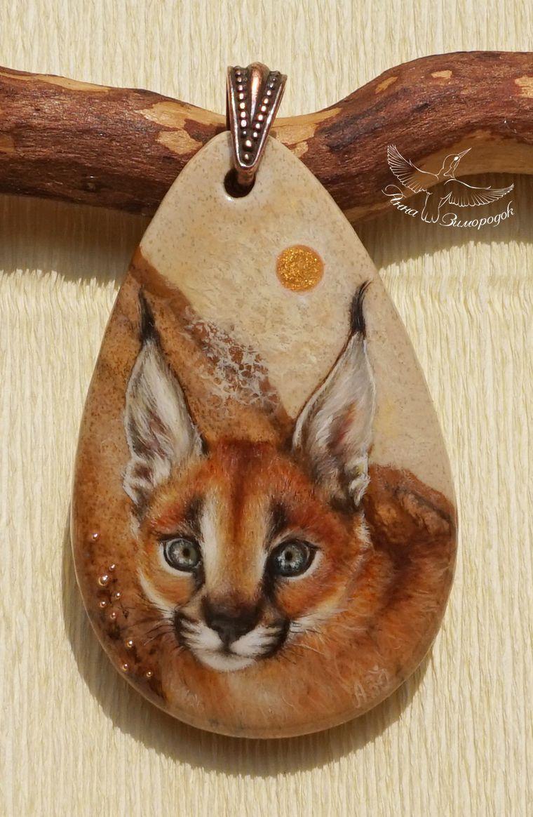 кошка котенок кулон, кулоны из камней купить, роспись по камню кулоны, кулон в подарок, кулоны подвески камнями, миниатюрная роспись, лаконичные украшения