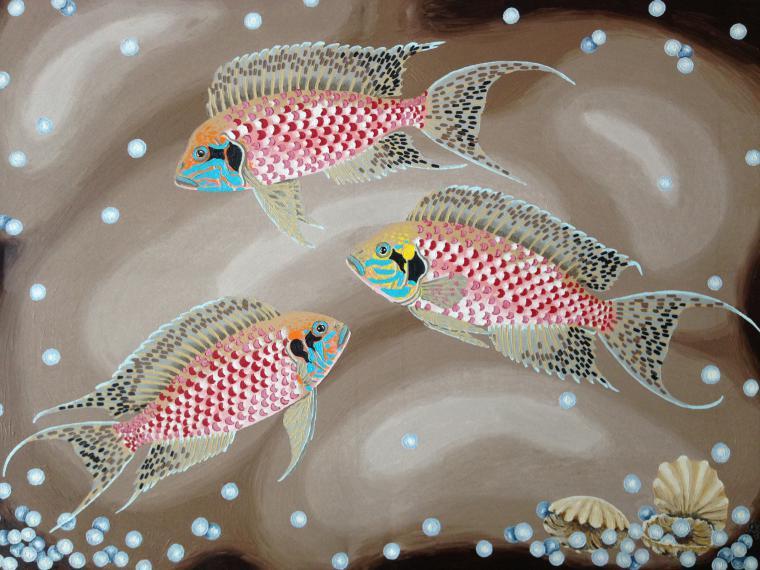 рыбки, жемчуг, картина в подарок, гармония
