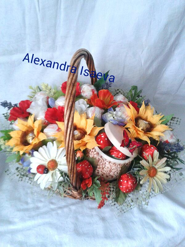 мастер класс, hand-made5, цветоделие, букет из конфет