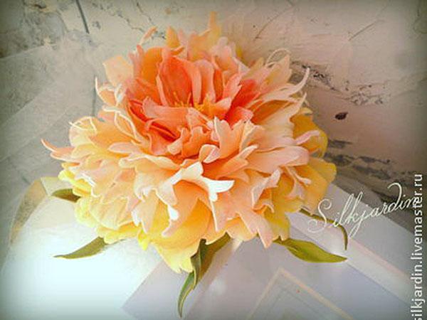 фоамиран, пион из фоамирана, обучение, мастер-класс, цветы ручной работы, цветы без инструментов