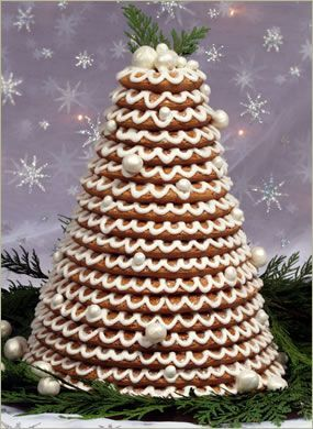 The Kransekake (which means wreath cake) is a traditional Norwegian and Danish cake. It is mostly eaten on special occasions, including Christmas, weddings, baptisms, and baby showers. It is traditionally 18 layers, but could be more or less.