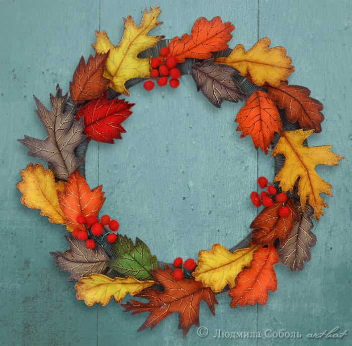 мастер-класс, венок, листья, осенние листья, осенний венок, декор интерьера, фетр, декор