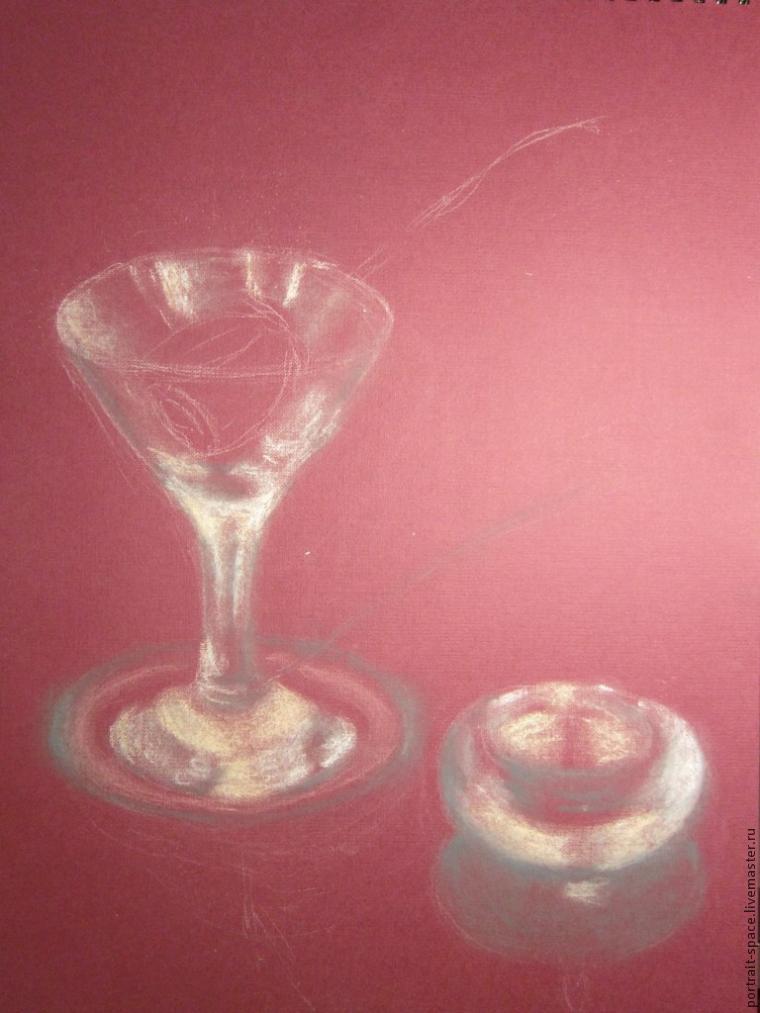 как рисовать стекло, бокал