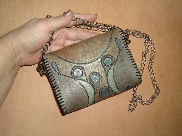 авторская сумка, сумка из натуральной кожи, сумка театральная