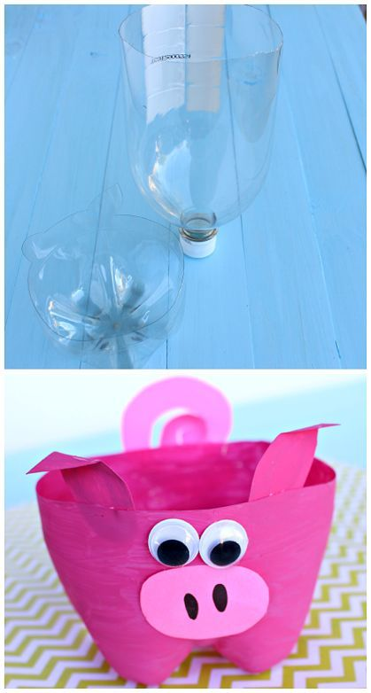 Plastic 2-liter bottle pig craft for kids to make! | CraftyMorning.com